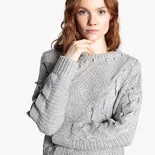 <b>Пуловер</b> из плотного трикотажа фигурной вязки серый меланж ...