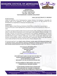 mca job posting community planner mohawk council of akwesasne a clear criminal records check is mandatory applicants who fail to submit the required documentation will be automatically disqualified