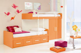 l beauteous calm children bedroom design with orange finish wooden bunk beds and decorative butterfly wall sticker plus cool wall lamp plus cute triangle beauteous kids bedroom ideas furniture design