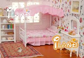 Princess Room Furniture 112 Miniature Doll House Set Wooden Furniture Accessories Mini Pink Princess Bedroom Bed 2 Cabinet Dollhouse Toy Boy 18in Room