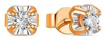 ЛУКАС <b>Серьги</b>-<b>пуссеты</b> с <b>2 бриллиантами</b> из красного золота ...