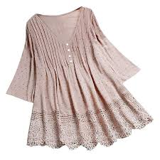 CUTUDE Women T-Shirt Three Quarter <b>Vintage</b> Blouse Ladies ...