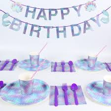 <b>MEIDDING</b> Girl <b>Birthday</b> Party Disposable Tableware Set Mermaid ...