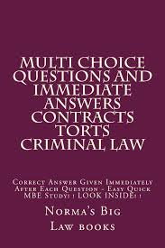buy law school tutorial   with multi choice questions   electronic  multi choice questions and immediate answers contracts torts criminal law a law e   book contracts torts criminal law multi choice questions for law
