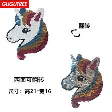 <b>GUGUTREE embroidery paillette big</b> unicorn patch horse patches ...