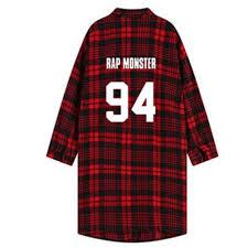 XuBa Fashion <b>BTS</b> Series <b>Printing</b> Red Lattice Long Sleeve Shirt ...
