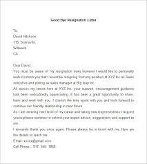 resignation letter template      free word  pdf documents    sample good bye resignation letter