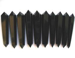 10 pieces <b>natural obsidian crystal</b> double pointed <b>quartz</b> wand-in ...