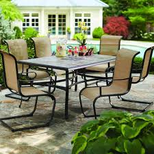 piece patio furniture outdoor hampton bay belleville  piece patio dining set