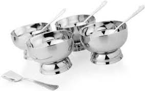 MOSAIC <b>Ice Cream</b> Cup Set (8 Pieces) <b>Stainless Steel Dessert</b> Bowl ...