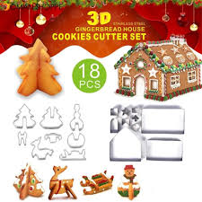 <b>18PCS 3D Christmas</b> cookie Cutters Mold Gingerbread House ...