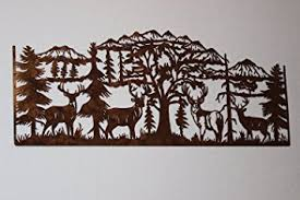 tree scene metal wall art: deer and mountain scene with  majestic bucks large metal wall art country rustic decor