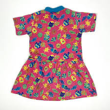 <b>Vintage</b> Flying Colors Pink Neon <b>Fish</b> Print Dress <b>Girls</b> Size 5