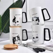 <b>Cute Creative Cat Kitty</b> Glass Mug Cup Tea Cup Milk Coffee Cup ...