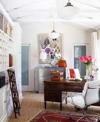 decoration bright white paited wall and ceiling inside elegant home office with wooden desk and beautiful home office design ideas traditional