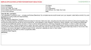 beautician application letters   mortuary beautician