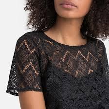 <b>Блузка</b> с <b>круглым</b> вырезом и короткими рукавами черный <b>La</b> ...