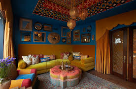 bohemian chic decor family room mediterranean with accent ceiling bright colors image by wendy black rodgers interiors chic family room decorating