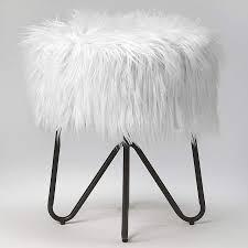 Butler Ezra White <b>Faux Fur Round</b> Accent <b>Stool</b> - #77J93 | Lamps Plus