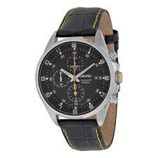 seiko watches jomashop seiko black dial black leather strap chronograph men s watch
