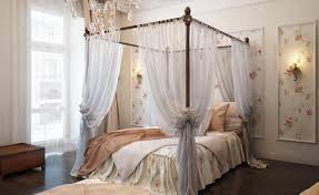 gallery sophisticated bedroom bench beautiful classic canopy bed with sheer curtain and floral wall decor