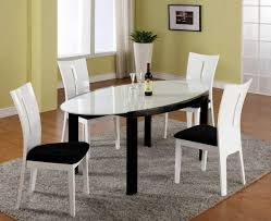 black and white dining table set:  elegant pretty modern dining room chairs in black color design combined and white dining room chairs