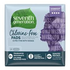 Seventh Generation <b>Chlorine Free Maxi</b> Pads Overnight with Wings ...