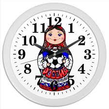 Часы круглые из пластика <b>Матрешка с</b> мячом #1010958 от ...