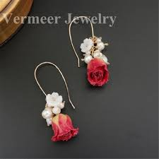 <b>natural pearl</b> earring for wedding wire wrap forever <b>flower shape</b> ...
