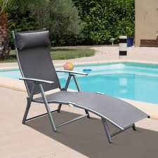 Outsunny Steel Mesh Outdoor <b>Folding Chaise Lounge Chair</b> Recliner