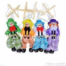 25CM Kids Classic <b>Funny</b> Wooden Clown <b>Pull</b> String Puppet ...