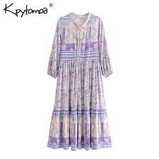 Boho Chic <b>Summer Vintage Ethnic</b> Floral Print Midi Dress <b>Women</b> ...