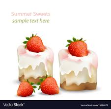 <b>Summer sweet</b> cheesecake with <b>strawberry fruits</b> Vector Image