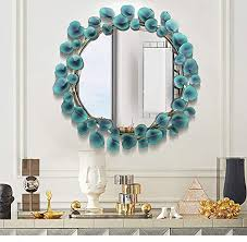 Large Metal Decorative Wall Mirror, <b>Fashion</b> Round <b>Creative Leaf</b> ...