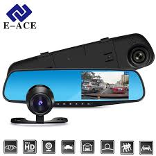 E-ACE <b>Car Dvr</b> FHD 1080P Dash Camera <b>4.3 Inch</b> Rearview Mirror ...