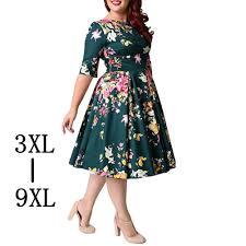 Retro Large <b>Size 6XL</b> 7XL 8XL <b>Women</b> Dress Vintage Zipper Floral ...