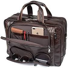 Vintage Genuine <b>Leather Men'S Briefcase Black</b> Messenger <b>Bag</b> ...