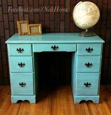 furniture makeover shabby chic turquoise mint blue vintage wood vanity desk hand painted with homemade chalk blue shabby chic furniture