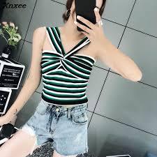 Topshop INS 2018 fashion women ladies sexy Striped <b>knit pullover</b> ...