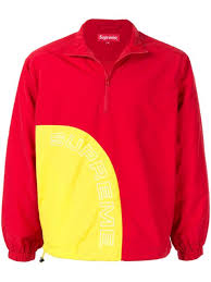 Shop <b>red</b> & <b>yellow Supreme</b> corner arc half zip pullover with Express ...