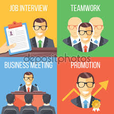 job interview teamwork business meeting promotion concepts set job interview teamwork business meeting promotion concepts set of four trendy flat