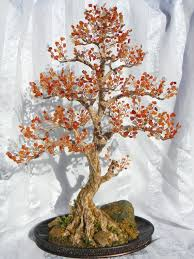 beaded wire tree | Autumn <b>Bonsai</b> Tree Handmade <b>Home Decor</b> ...
