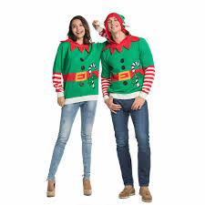 <b>Knitted</b> Elf with Bell Couples <b>Ugly Christmas</b> sweater Hoodie | You ...