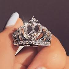 Fashion Luxury Silver Zirconia Crown Ring Women's ... - Vova