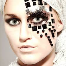 avant garde eye makeup with black beads and sequin avant garde