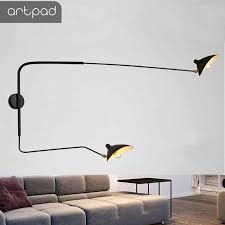 Long Arm <b>Vintage</b> Black Wall Lamp E27 <b>E14</b> Up and Dwon ...