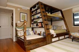 l awesome space saving kids bedroom design featuring perfect wooden bunk beds with unique black metal stairs and bookshelves on the left side 1120x749 awesome design kids bedroom