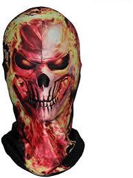 Fire Skull 3D Face <b>Hood Halloween Cosplay</b> Pretend Game <b>Funny</b> ...