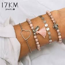 2019 17KM <b>Vintage Heart Boho</b> Bracelet Set For Women Girl ...