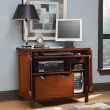 furniture endearing wooden home computer standing desks with printer rack and chic vintage lamp shade awesome chic vintage home office desk cute
